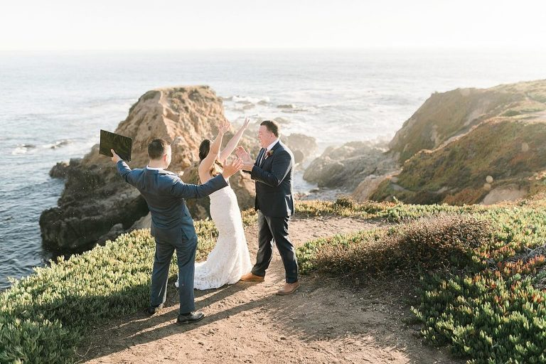 Couple celebrates after their Big Sur elopement wedding ceremony at one of the best places to elope in California