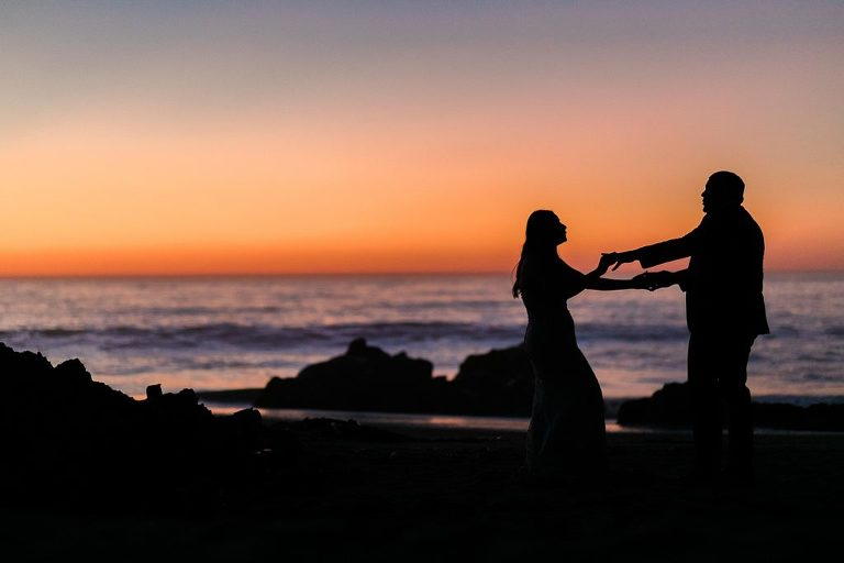 Elopement couple dancing to Neil Young at sunset