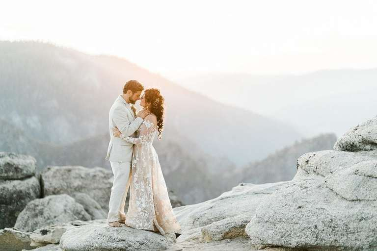 Epic California elopement location, Yosemite National Park at sunset