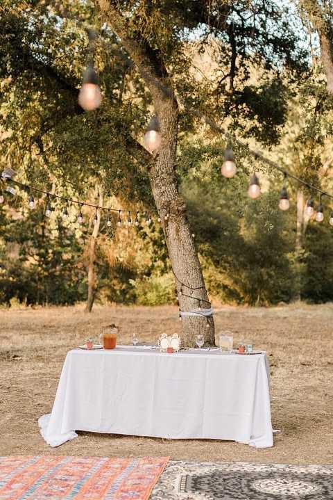 Boho wedding reception at Serenity Rustic Retreat at Mill Creek