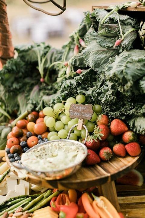 Vegan catering at boho wedding reception at Serenity Rustic Retreat at Mill Creek