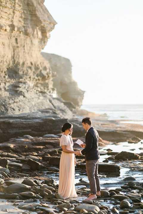 Elopement wedding ceremony at Sunset Cliffs