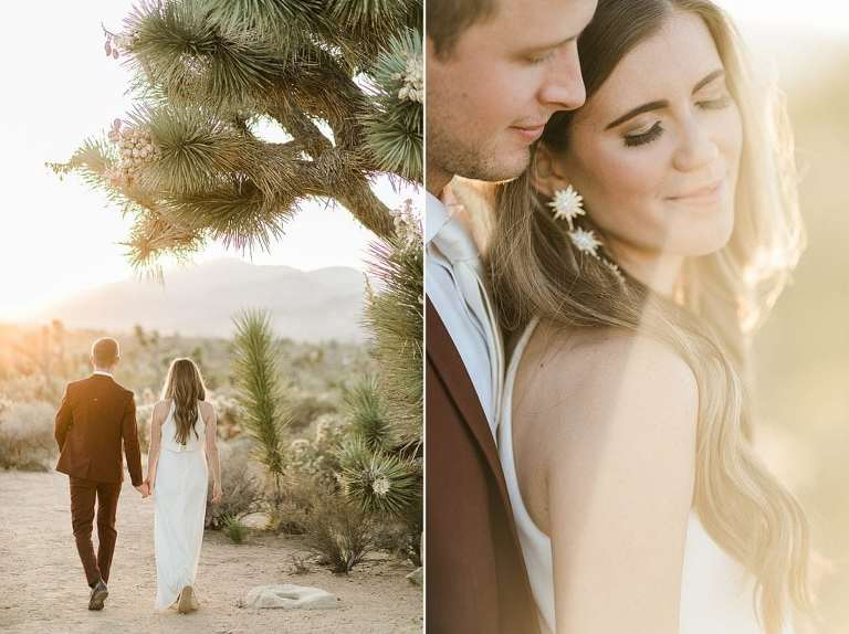 Coupe walking at sunset in Joshua Tree National Park for elopement in California