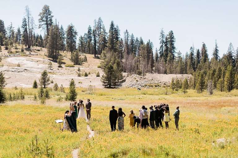 Boho Long Meadow elopement wedding ceremony in Sequoia National Park