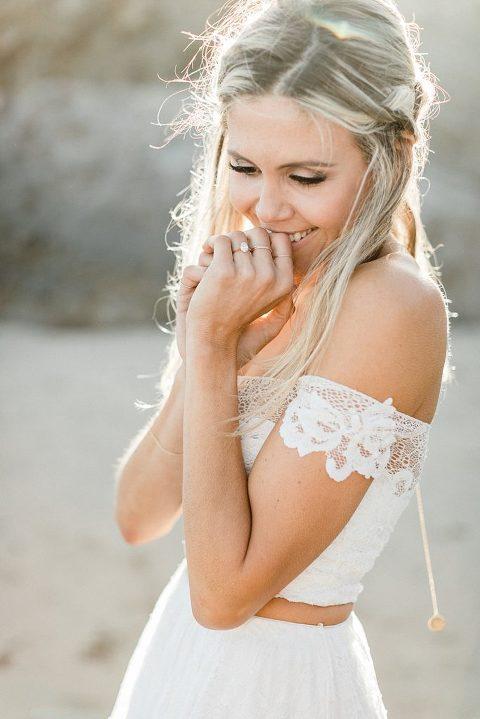 Boho elopement wedding inspiration in Malibu   Grace Loves Lace 2 piece dress with Hadley Frances Jewelry