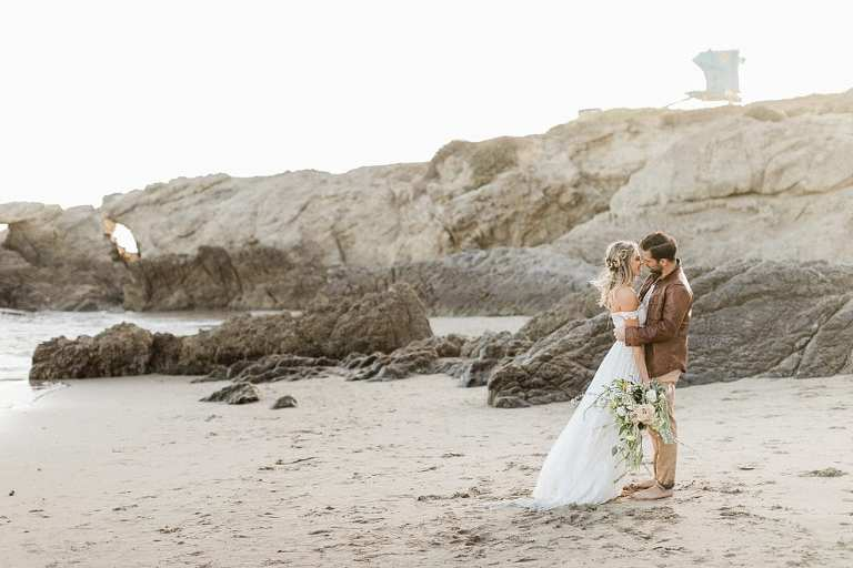 Leo Carrillo State Beach Wedding at sunset in April   Malibu Elopement Photographer