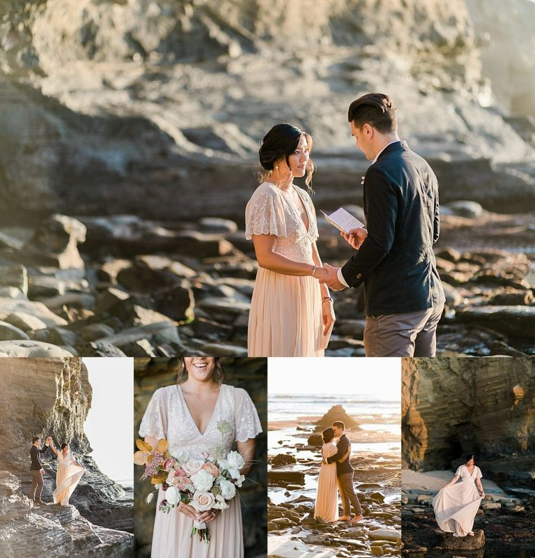 Couple eloping in Sunset Cliffs Park in San Diego, CA