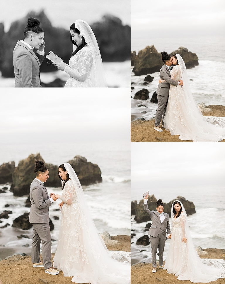 Self-solemnizing elopement ceremony ideas from Mussel Rock Park in Bay Area