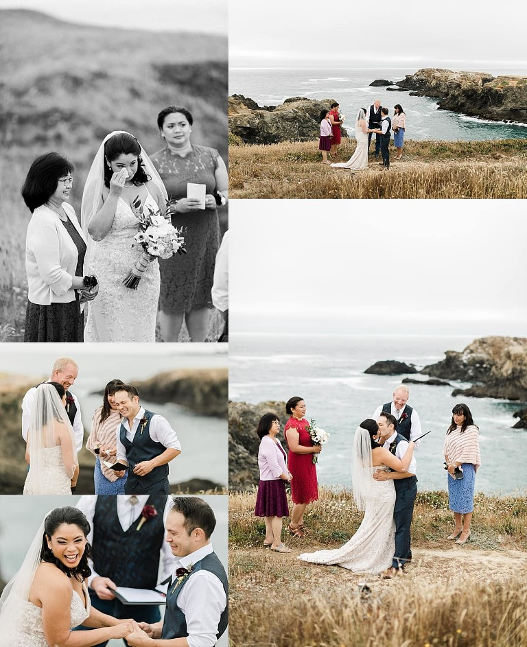 Family member officiating Mendocino Headlands elopement