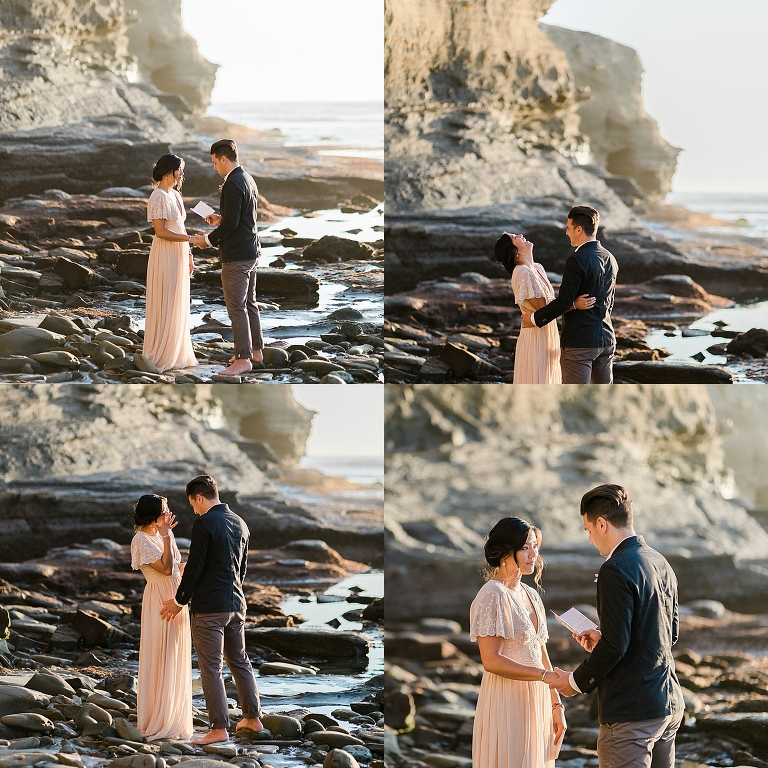 Self-uniting elopement ceremony ideas from Sunset Cliffs in California