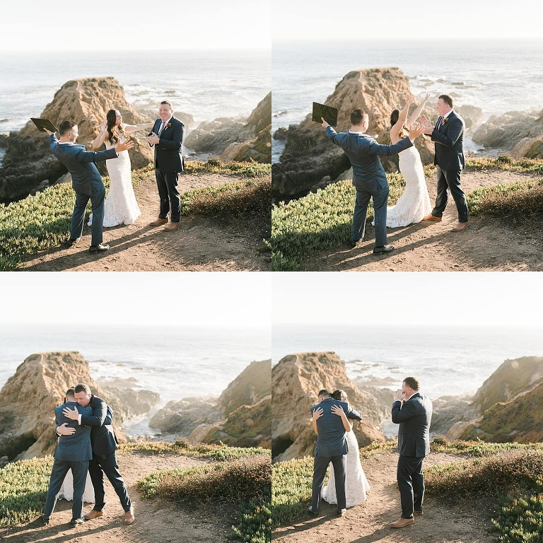 A great elopements ceremony idea is to have a friend officiate your wedding like this couple in Big Sur, CA