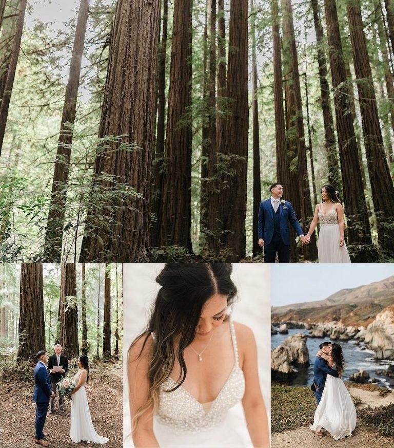 Elopement ceremony at Glen Oaks Big Sur, California