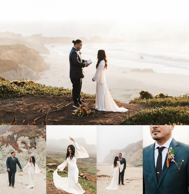 Boho Big Sur Elopement with bell sleeve dress and fall colored flowers